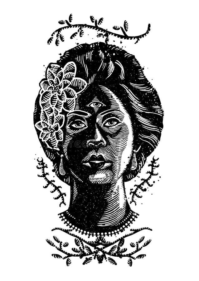 Yeux Art Illustration de fille illustration de vecteur