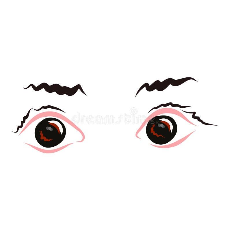 Yeux avec des sourcils, obscurité, vue, fond blanc illustration de vecteur