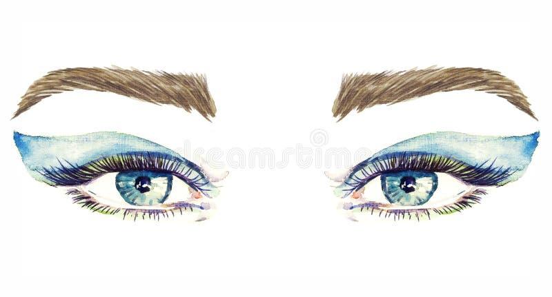 Yeux bleus avec le maquillage, fards à paupières mous bleus de forme d'aile, mascara, sourcils bruns illustration de vecteur