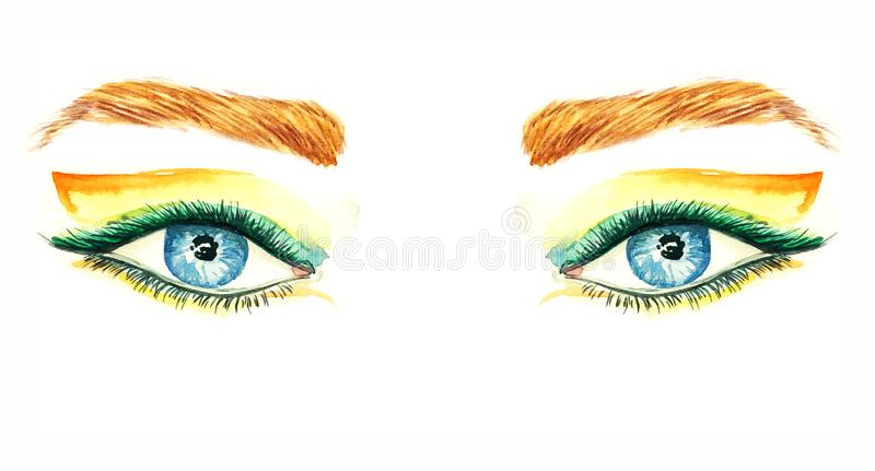 Yeux bleus avec les fards à paupières de maquillage, oranges et verts d'aile de forme, mascara, sourcils bruns illustration stock