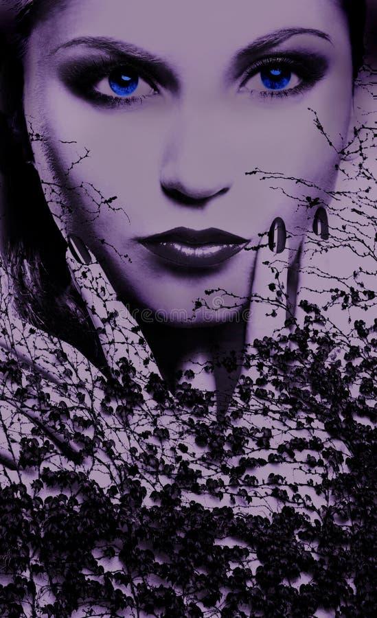 Yeux bleus d'une femme mystérieuse photo libre de droits