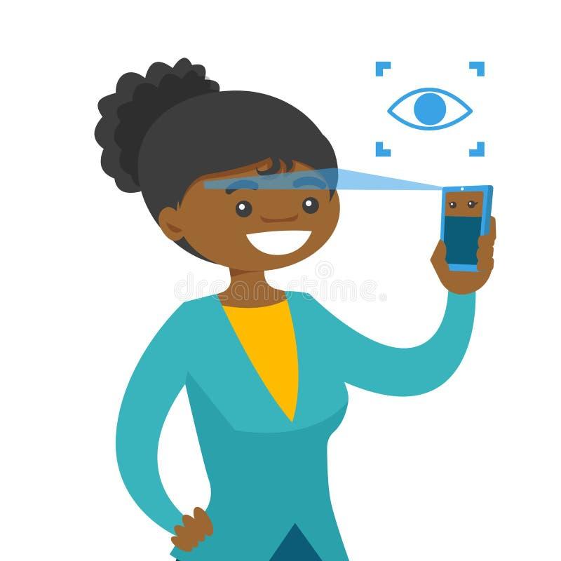 Yeux de balayage de femme de couleur avec le smartphone illustration libre de droits