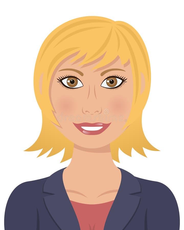 Yeux de Brown de cheveux blonds de femme d'affaires illustration libre de droits