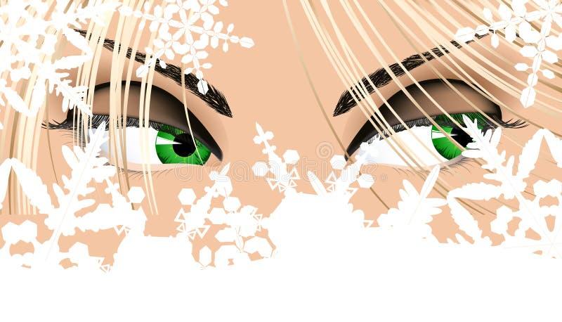 Yeux de femme regardant de dessous des flocons de neige illustration libre de droits