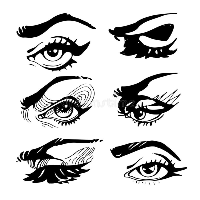 Yeux de maquillage de femme avec des sourcils et des mèches illustration stock