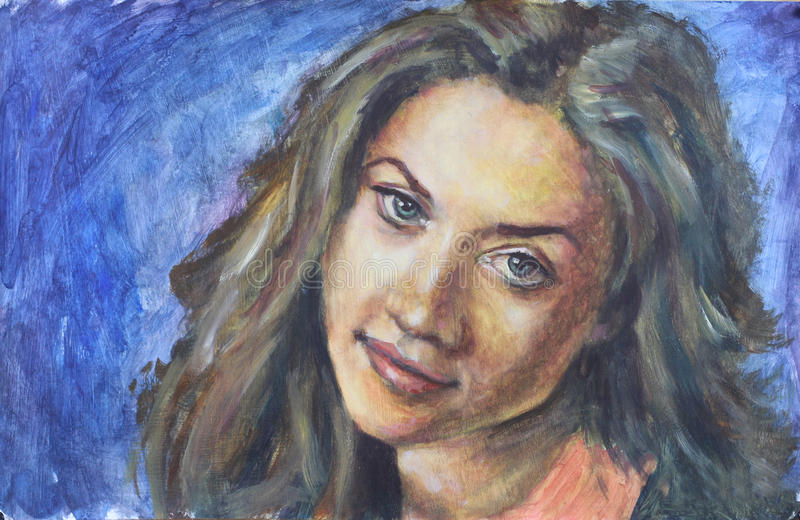 Yeux de portrait de femme de peinture grands et cheveux luxuriants sur le fond bleu images libres de droits