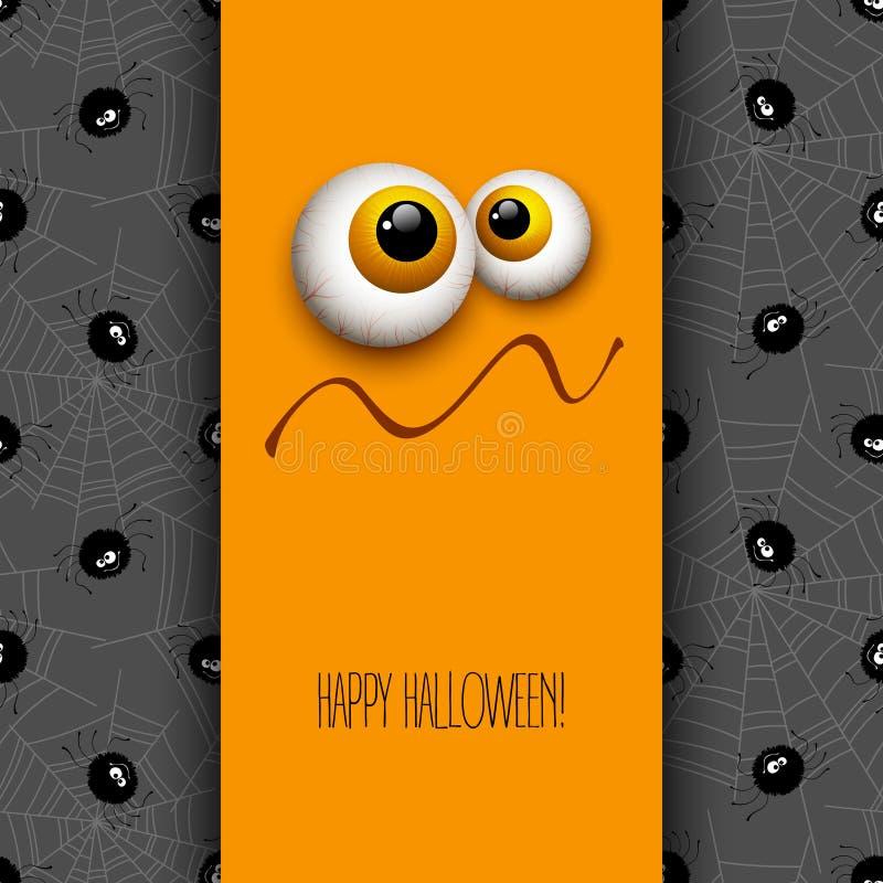 Yeux drôles de monstre de carte de voeux de Halloween Vecteur illustration de vecteur