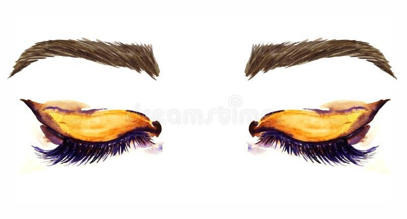 Yeux en forme d'amande orientaux fermés avec le maquillage, fards à paupières bruns d'or, contour noir, mascara, sourcils bruns illustration libre de droits