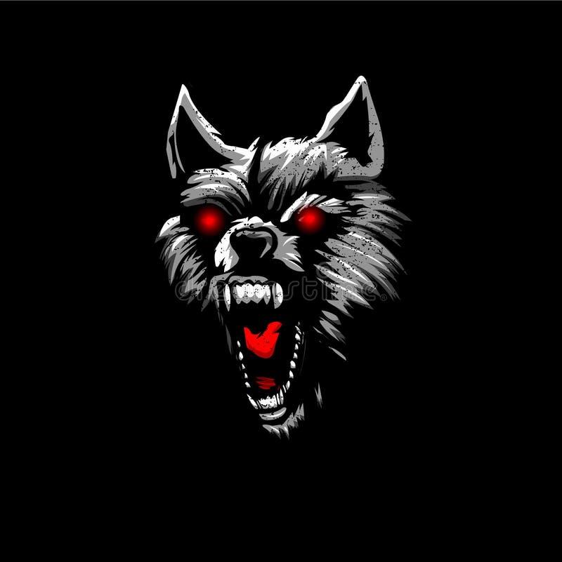 Yeux fâchés de rouge de tête de loup illustration libre de droits