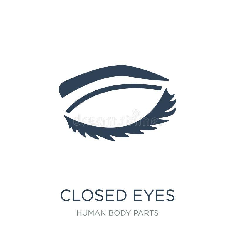 yeux fermés avec des mèches et icône de fronts dans le style à la mode de conception yeux fermés avec les mèches et l'icône de fr illustration libre de droits