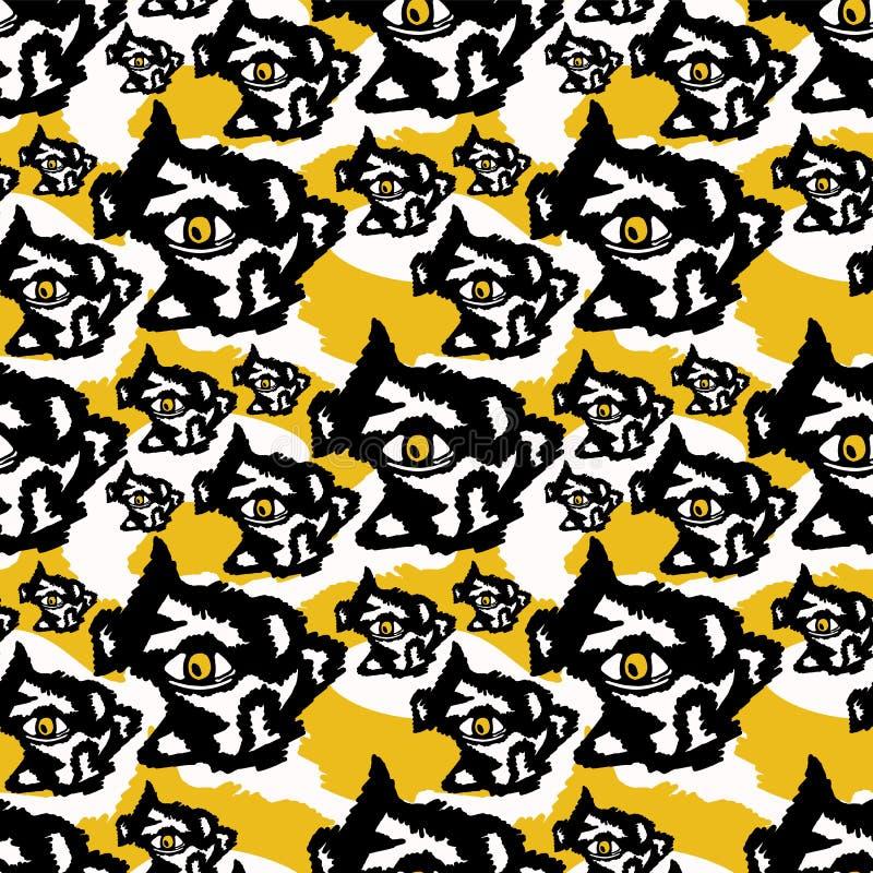 Yeux foncés abstraits rugueux jaunes et noirs illustration libre de droits