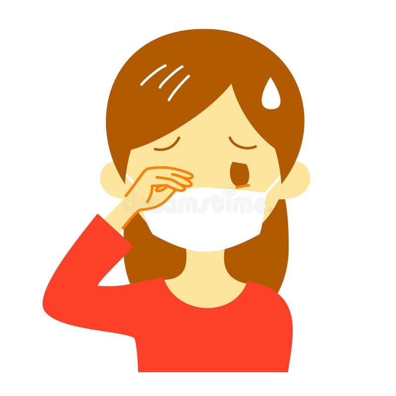 Yeux irritants, femme utilisant un masque chirurgical illustration libre de droits