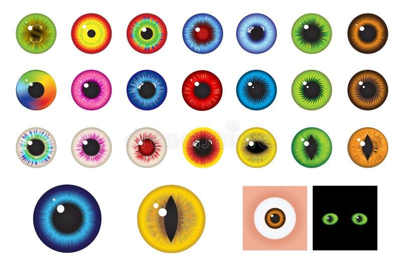 Yeux multicolores - éléments de conception. Vecteur illustration libre de droits