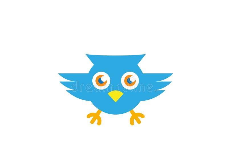Yeux ouverts de hibou bleu et voler pour le vecteur de logo illustration libre de droits