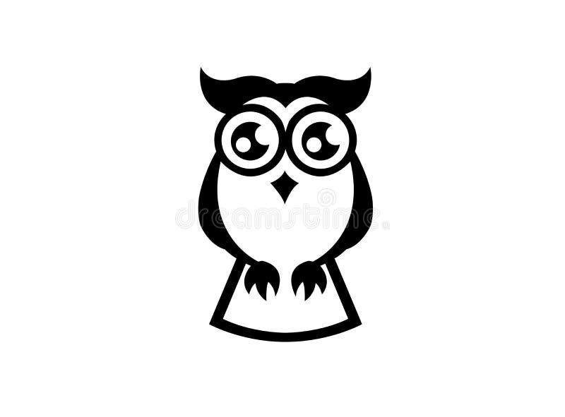 Yeux ouverts de hibou noir pour la conception de logo illustration stock