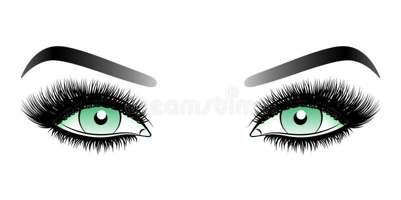 Yeux verts de femme avec de longues mèches fausses avec des sourcils illustration stock