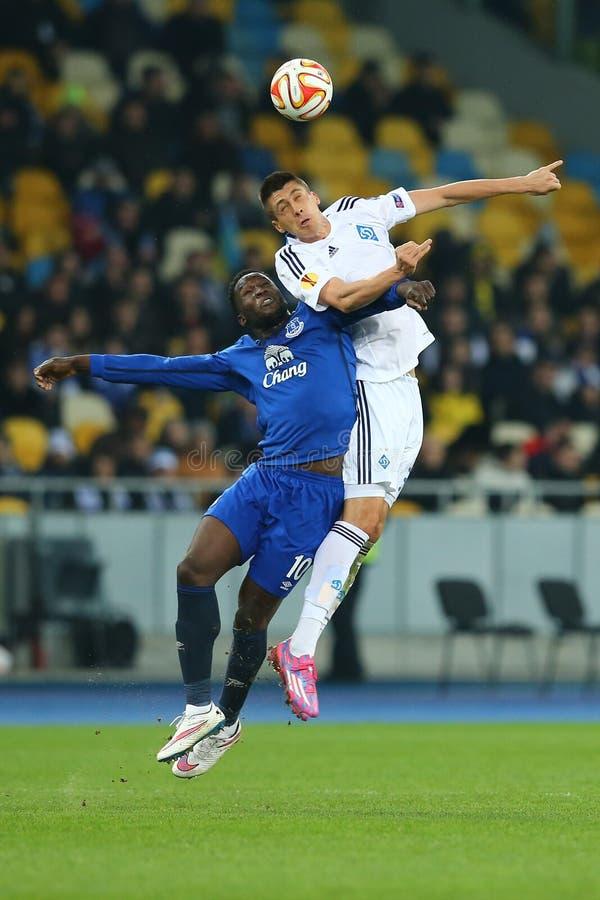 Yevhen Khacheridi and Romelu Lukaku fighting for ball in air, UEFA Europa League Round of 16 second leg match between Dynamo and. KYIV, UKRAINE - MARCH 19, 2015 stock photography