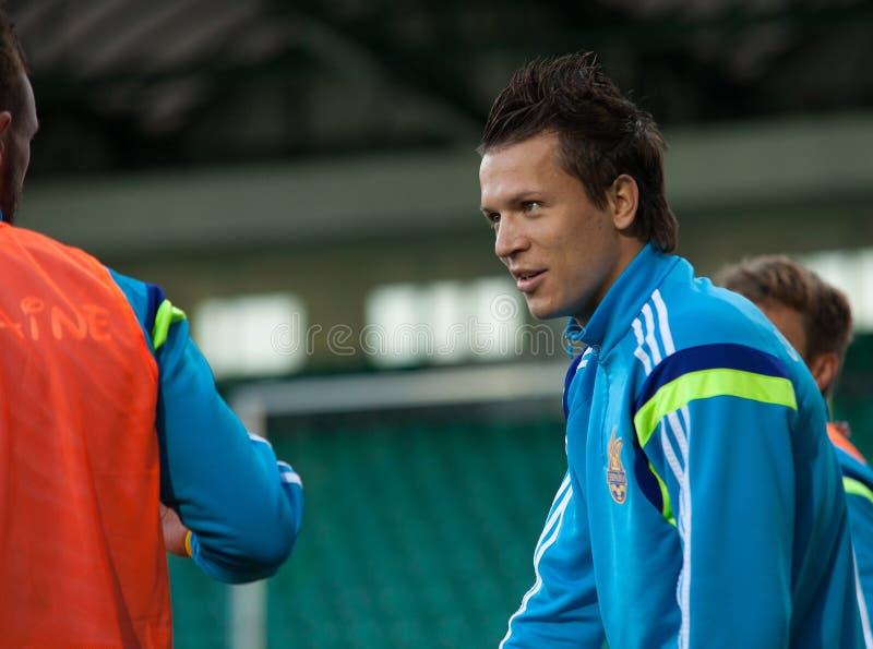 Yevhen Konoplyanka -乌克兰全国足球队员球员 免版税库存照片