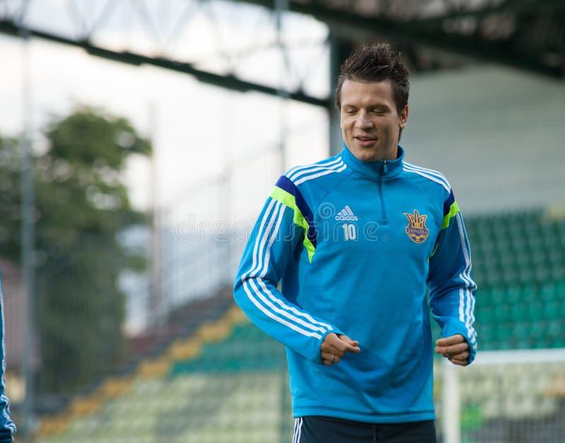 Yevhen Konoplyanka - joueur d'équipe national ukrainien du football 2 photos stock