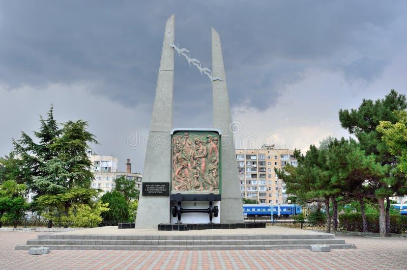 Yevpatoria, Krim, Juli, 04, 2016 Das Monument zu den verbannten Völkern der Krim lizenzfreie stockfotos