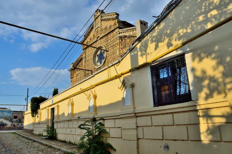 Yevpatoria, Krim, Juli, 04, 2016 Niemand, Handwerk ` Synagoge Yeghia-Kapay` Yevpatoriya krim stockfotos