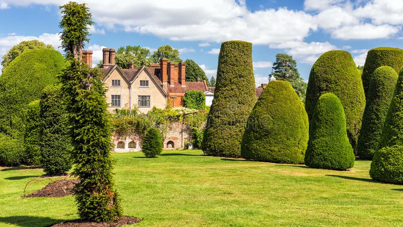 The Yew Garden, Packwood House, Warwickshire, England. A panoramic view of part of the famous 100 tree Yew Garden with Packwood House in the background royalty free stock photography