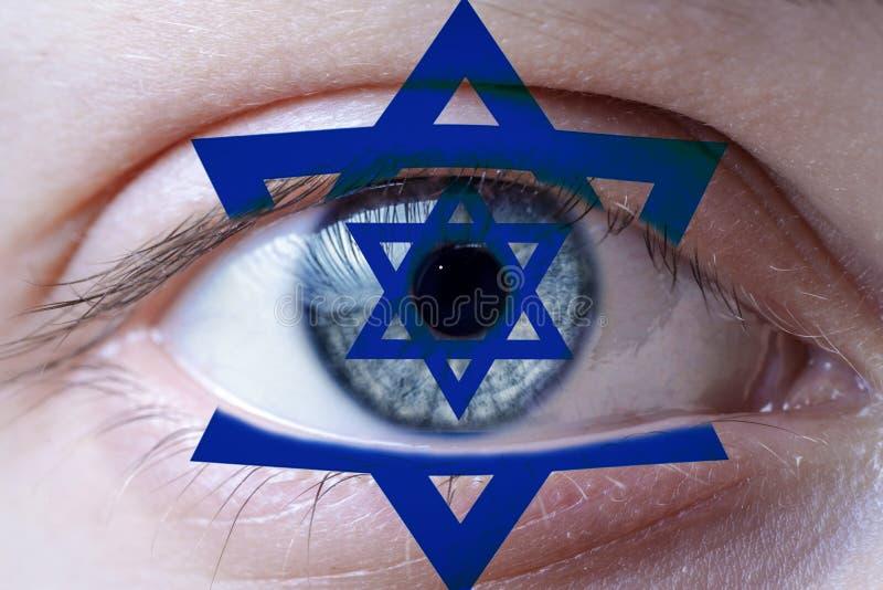 Yey humano pintado com a bandeira de Israel imagem de stock