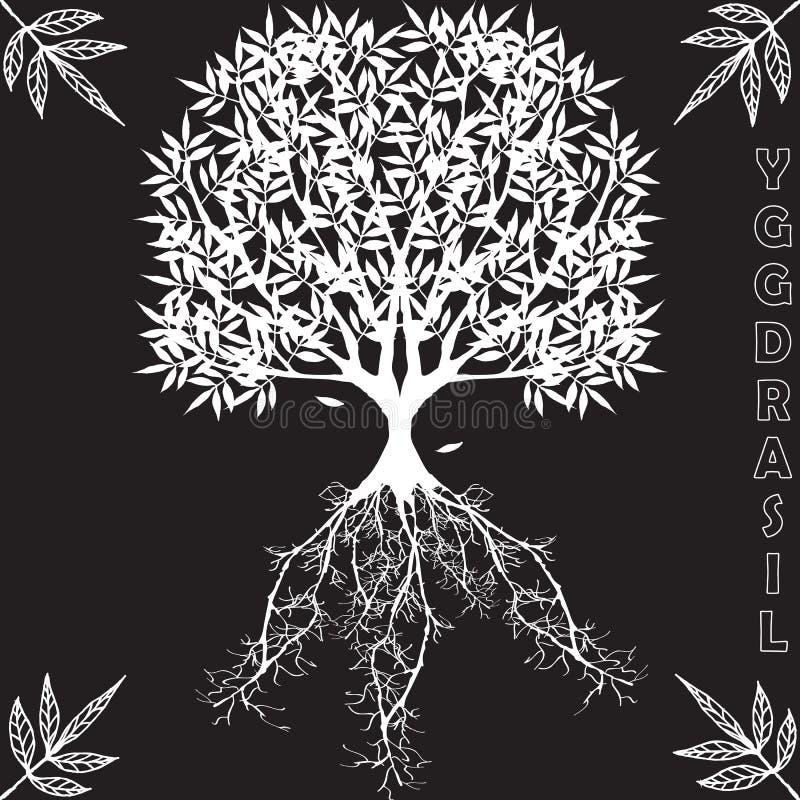 Yggdrasil †'wektorowy Światowy drzewo od Skandynawskiej mitologii ilustracji