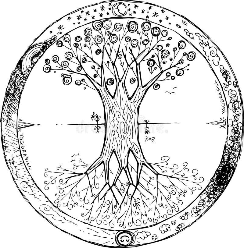 Yggdrasil: den celtic treen av liv royaltyfri illustrationer