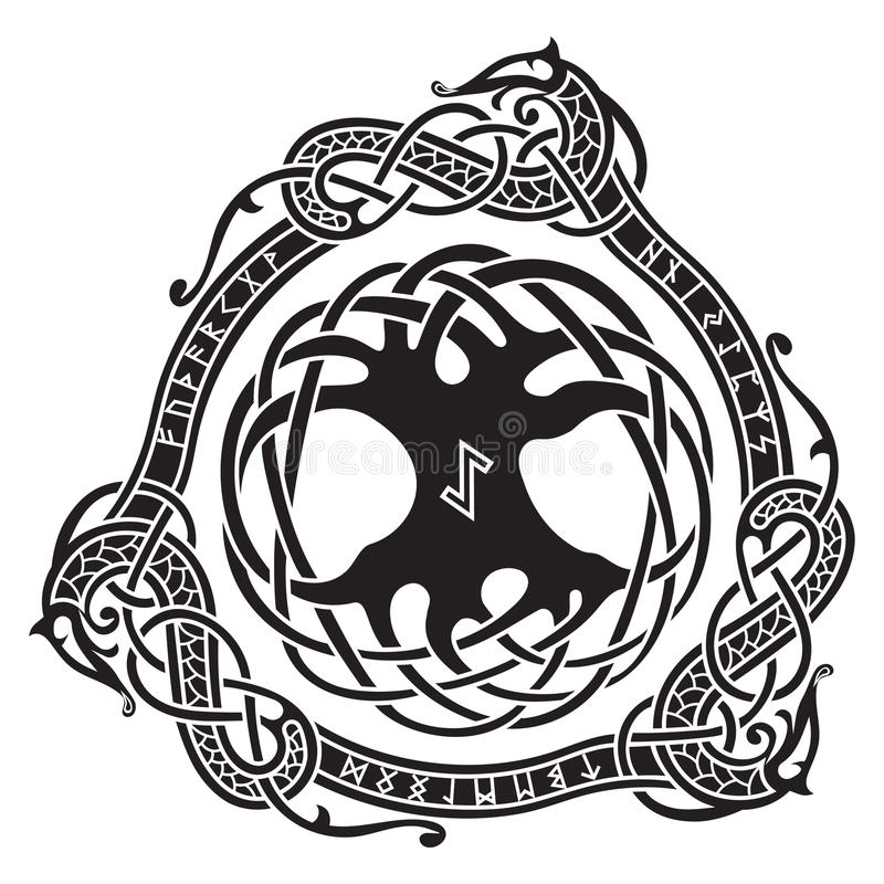 Yggdrasil. Scandinavian design. The tree Yggdrasil in Nordic pattern. Yggdrasil. Scandinavian design. The tree Yggdrasil in Nordic pattern, vector illustration royalty free illustration