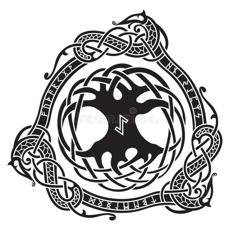 yggdrasil Skandinavisk design Trädet Yggdrasil i nordisk modell royaltyfri illustrationer
