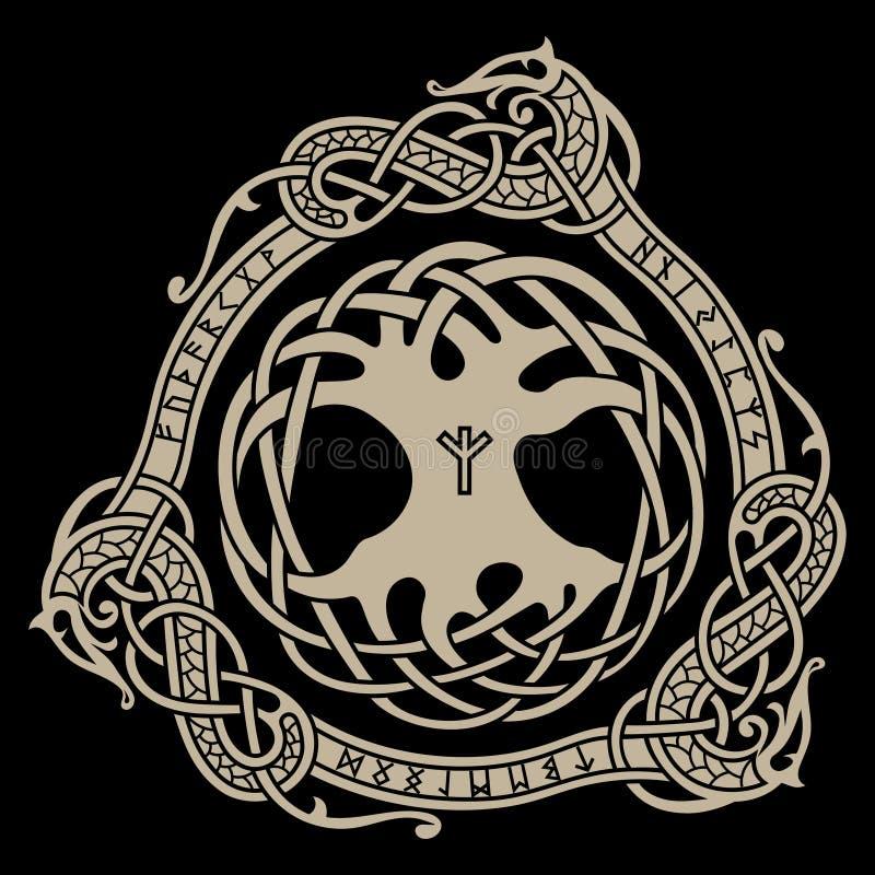 yggdrasil Skandynawski projekt Drzewny Yggdrasil w Północnym wzorze ilustracja wektor