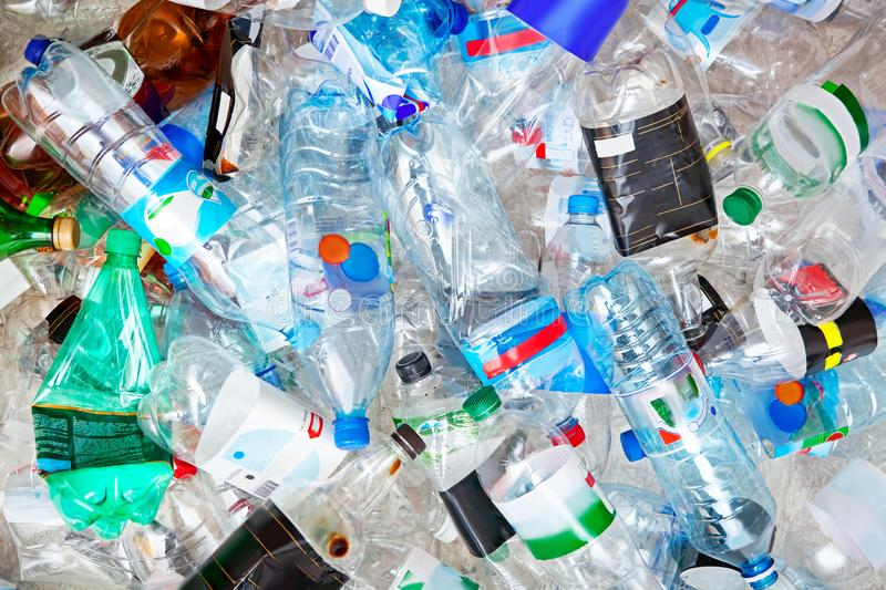 Big pile of empty plastic bottles. stock images