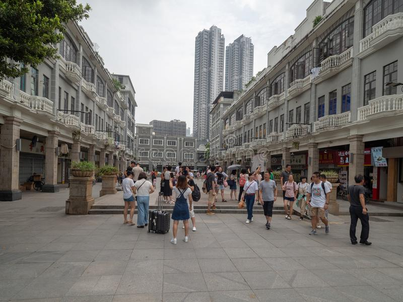 Yi De Road in the Old Town of Guangzhou, China. Guangzhou/China - August 18 2018: Yi De Road in the Old Town of Guangzhou. Guangzhou also known as Canton, is the royalty free stock photo