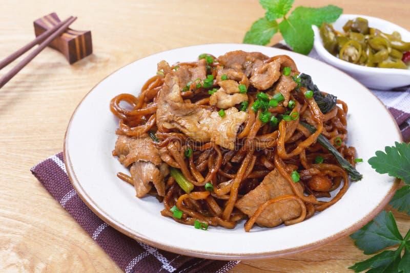 Yi mein noodle stir fried with dark caramel sauce royalty free stock photo