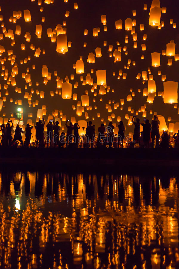 Yi Peng festival in Chiang Mai, Thailand royalty free stock images