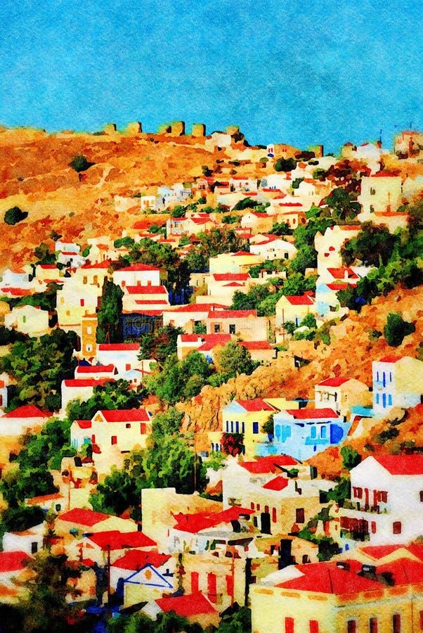 Yialos village, Symi island royalty free stock photography