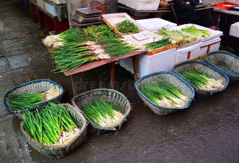 Yichang för vårlökstall marknad fotografering för bildbyråer