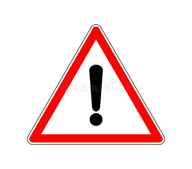 Yield Triangle Sign - Road traffic coordination symbol. Road sign warning attention with an exclamation mark. Vector illustration. vector illustration