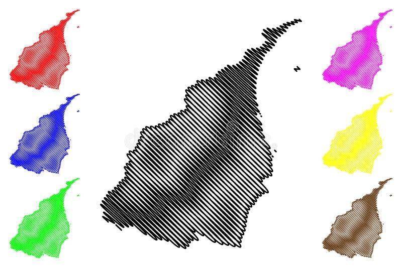Yilan County Administrative divisions of Taiwan, Republic of China, ROC, Counties map vector illustration, scribble sketch I-lan. Ilan map royalty free illustration