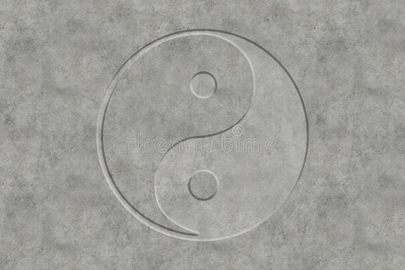 Yin και σύμβολο Yang στο σκυρόδεμα ελεύθερη απεικόνιση δικαιώματος