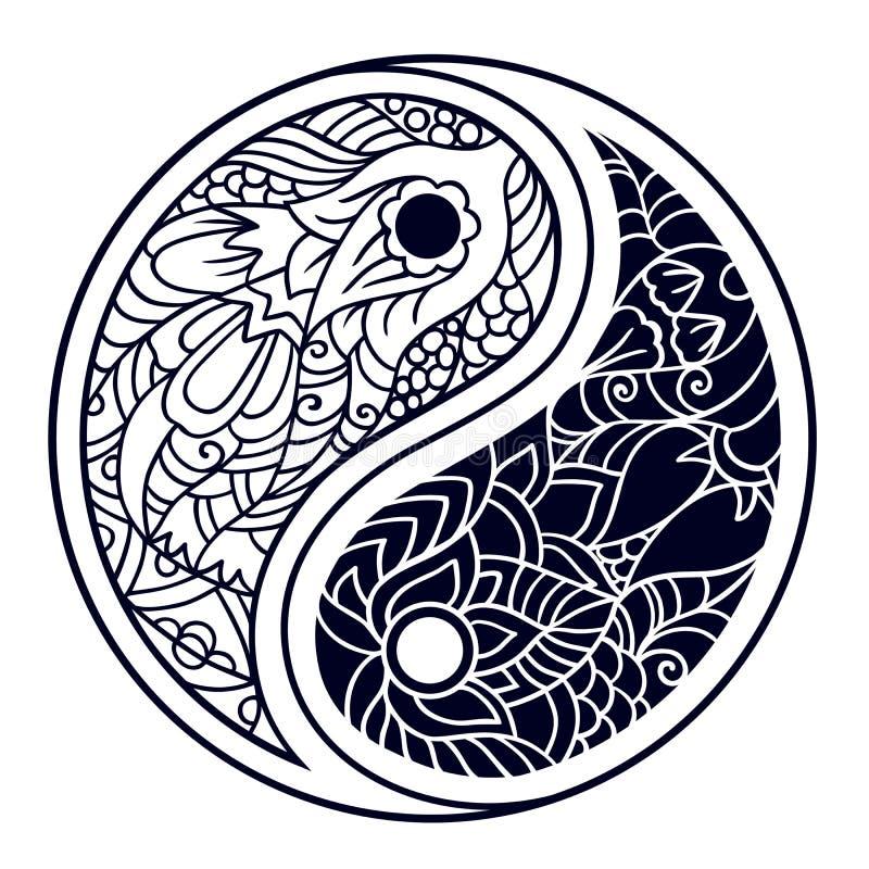 Yin και yang διακοσμητικό σύμβολο Συρμένο χέρι εκλεκτής ποιότητας σχέδιο ύφους ελεύθερη απεικόνιση δικαιώματος