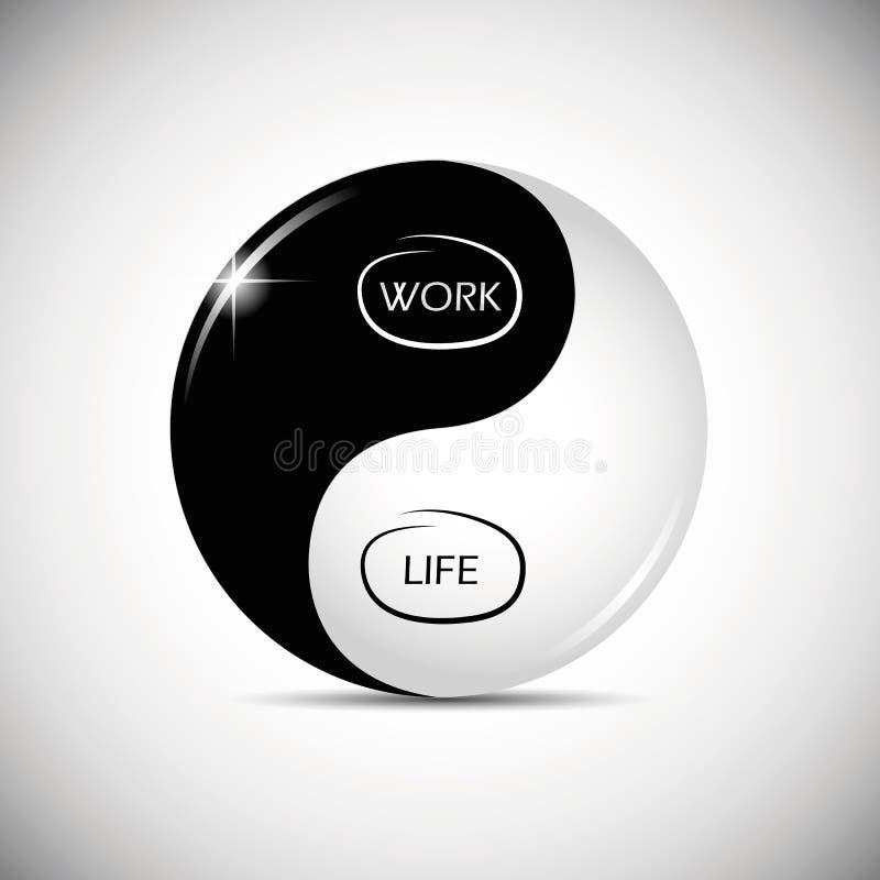 Yin και yang ισορροπία μεταξύ της εργασίας και της ζωής διανυσματική απεικόνιση