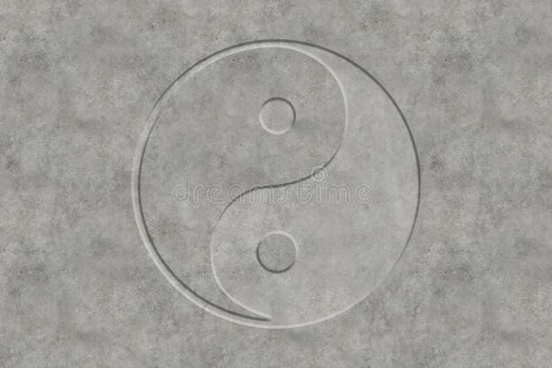 Yin и символ Yang в бетоне стоковое изображение rf