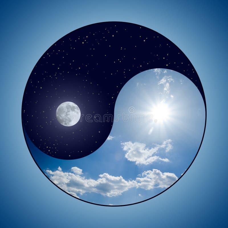 Yin & Yang - dia & noite ilustração royalty free