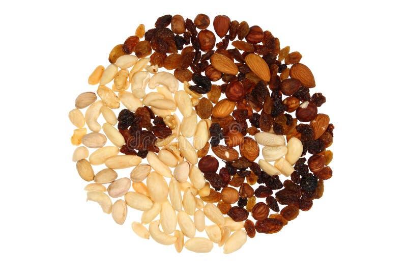 Yin & Yang feitos das porcas e dos raisins; isolado imagens de stock
