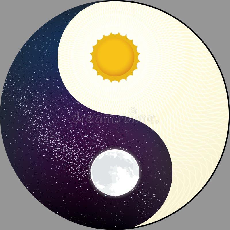 Yin cosmológico yang com sol e lua Noite e dia ilustração royalty free