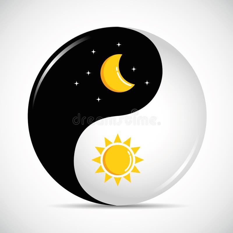 Yin de Sun e de lua e harmonia de yang dia e noite ilustração do vetor