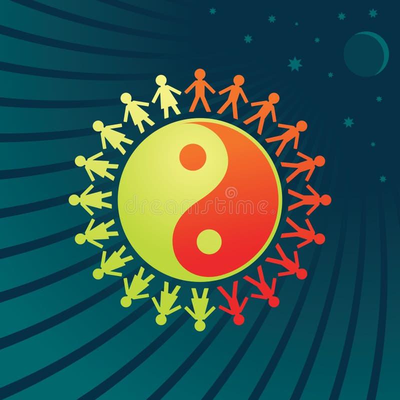 yin de yang de femmes de symbole d'hommes illustration de vecteur