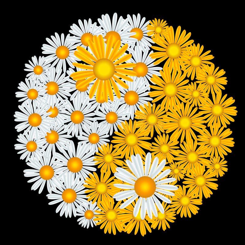 yin de yang de fleur illustration libre de droits